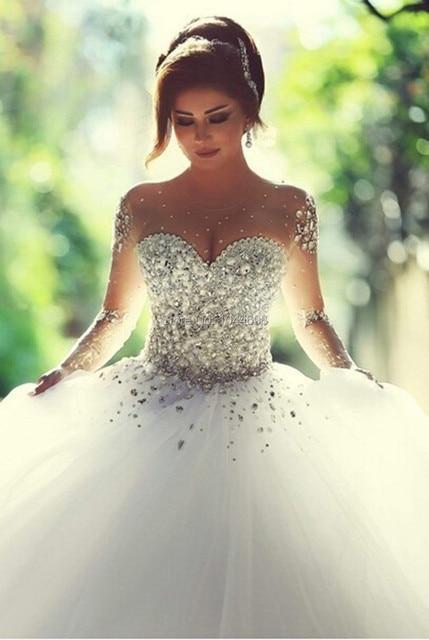 Robes De Casamento Robe De Mariage 2017 Sexy Voir À Travers Haute,Cou À  Manches