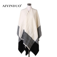Fashion European Style Women Winter Pashmina Cashmere Warm Shawls Crochet Wool Scarves Blanket Wraps Tassel Cachecol