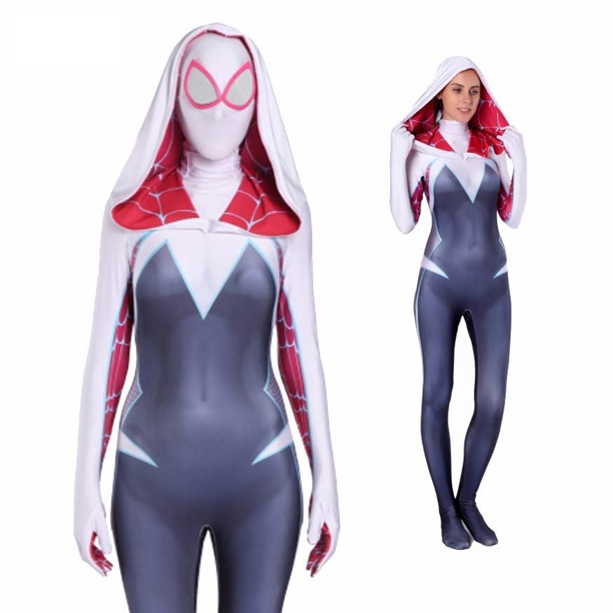 3D Print 2019 Women Girls Venom Spider Gwen Stacy Cosplay Halloween Costume Spiderman Zentai Superhero Bodysuit Suit Jumpsuits