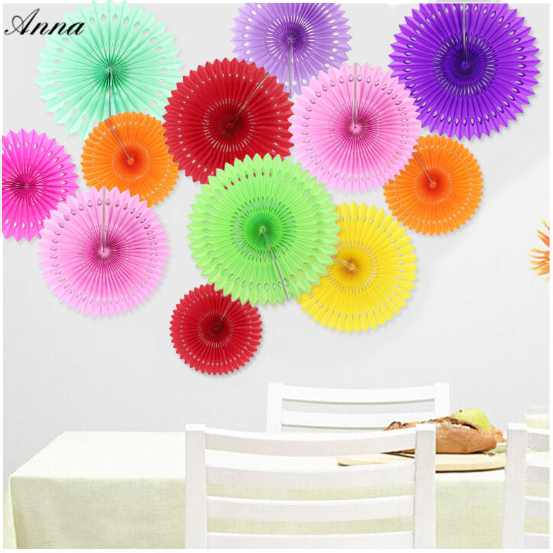 16(40CM)Hollow Tissue Hanging Paper Fans For Home Garden Wedding / Kids Birthday Party / Baby Shower/ Wall Decoration