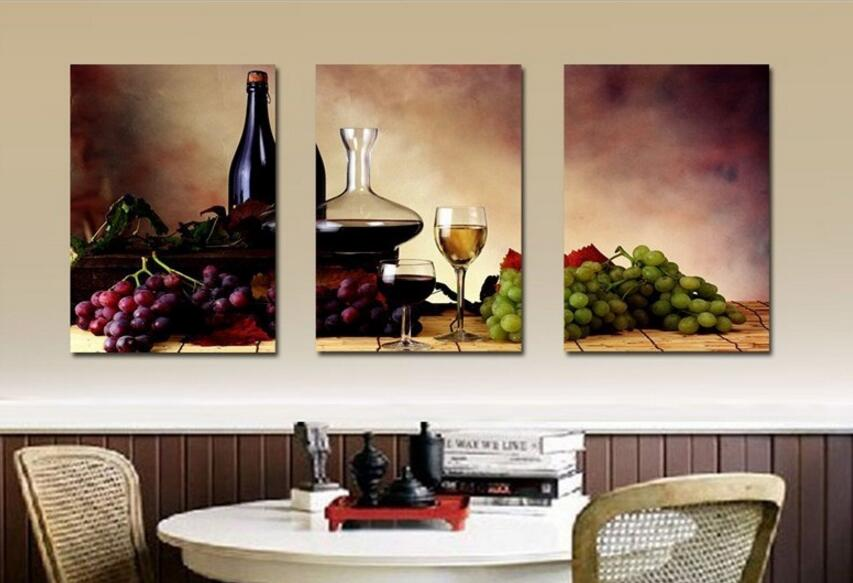 Elegant Big Size Modern Dining Room Wall Decor Wine Fruit Kitchen Wall Art Picture  Printed Still Life