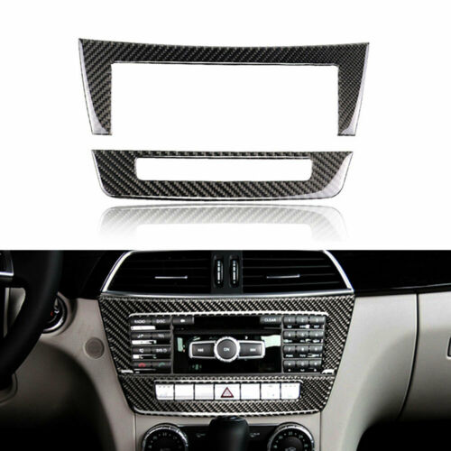 Carbon Fiber Car Middle Console CD Panel Cover Trim For Benz C Class W204 2010 2013