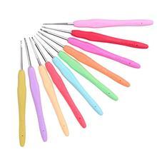 10 шт./компл. мягким ручками TPR Алюминий вязальные крючки для плетения Вязание иглы для дома sewinmg ручной работы Вязание инструменты