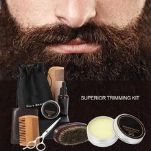 Men Beard Styling Shaping  Cream Beard Oil Kit with Scissors Mustache Hair Care Tool Beard Styling Comb Brush Bag Grooming Kit
