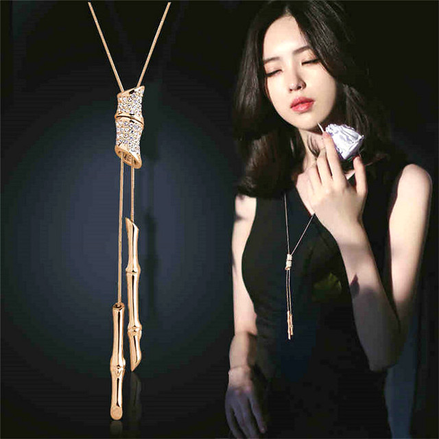 c0cc35d2754e Declaración completa de diamantes de imitación borla colgante collar largo mujeres  Bijoux moda suéter accesorios de joyería