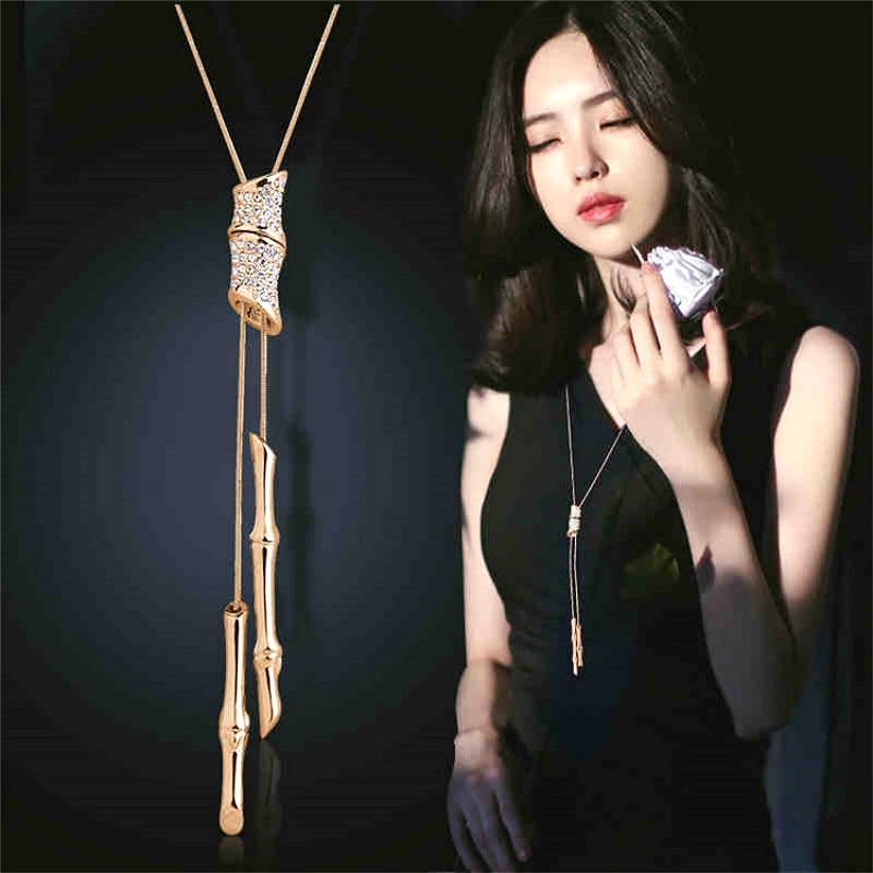 Declaración Rhinestone lleno borla collar largo colgante mujeres Bijoux moda suéter accesorios de la joyería