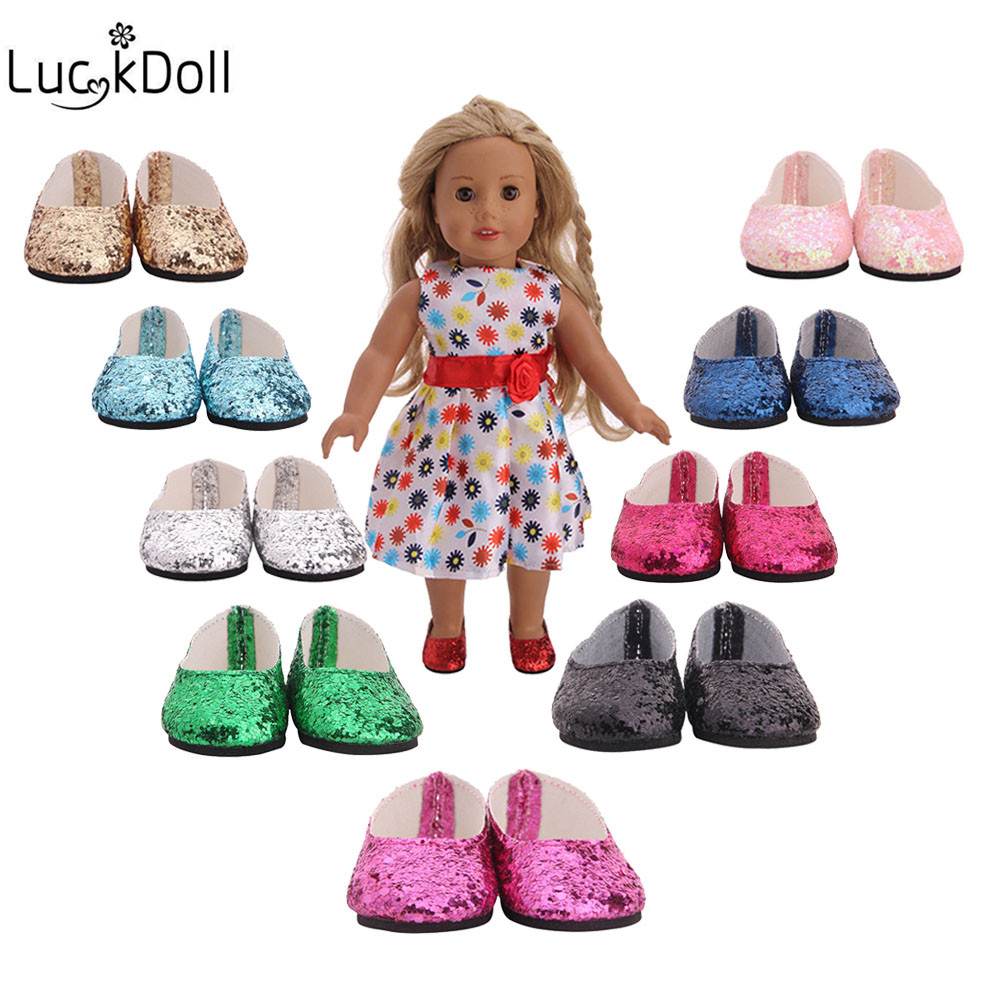 Luckdoll Beautiful 18 inch American doll sequins shoes doll accessories mini shoes children's best gift n1564-n1673 image
