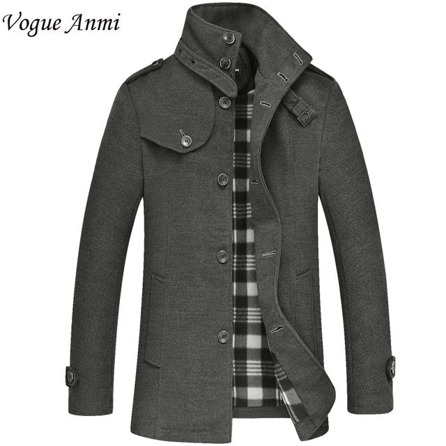 Vogue Anmi. homens De Lã casaco de inverno masculino de lã de lã blusão jaqueta casual dos homens M-3XL, WT03