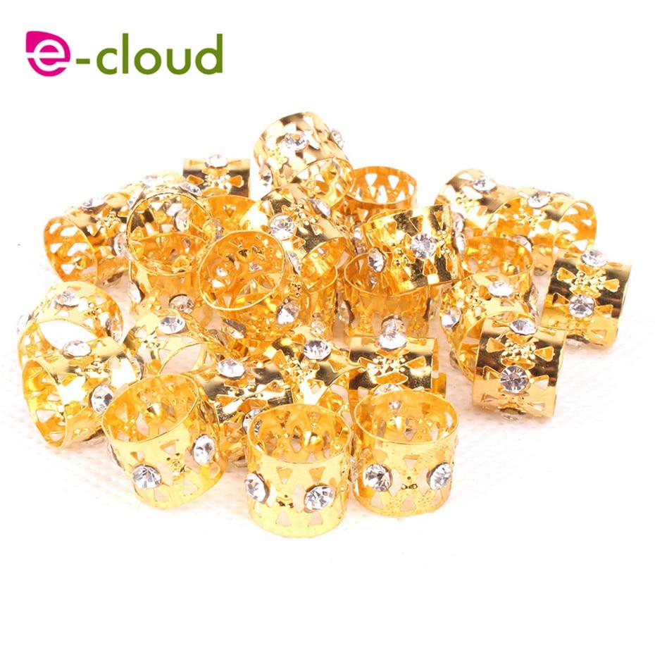 50pcs Diamond Gloden metal tube ring dreadlock beads for braids hair beads for dreadlocks adjustable hair braid cuff clips