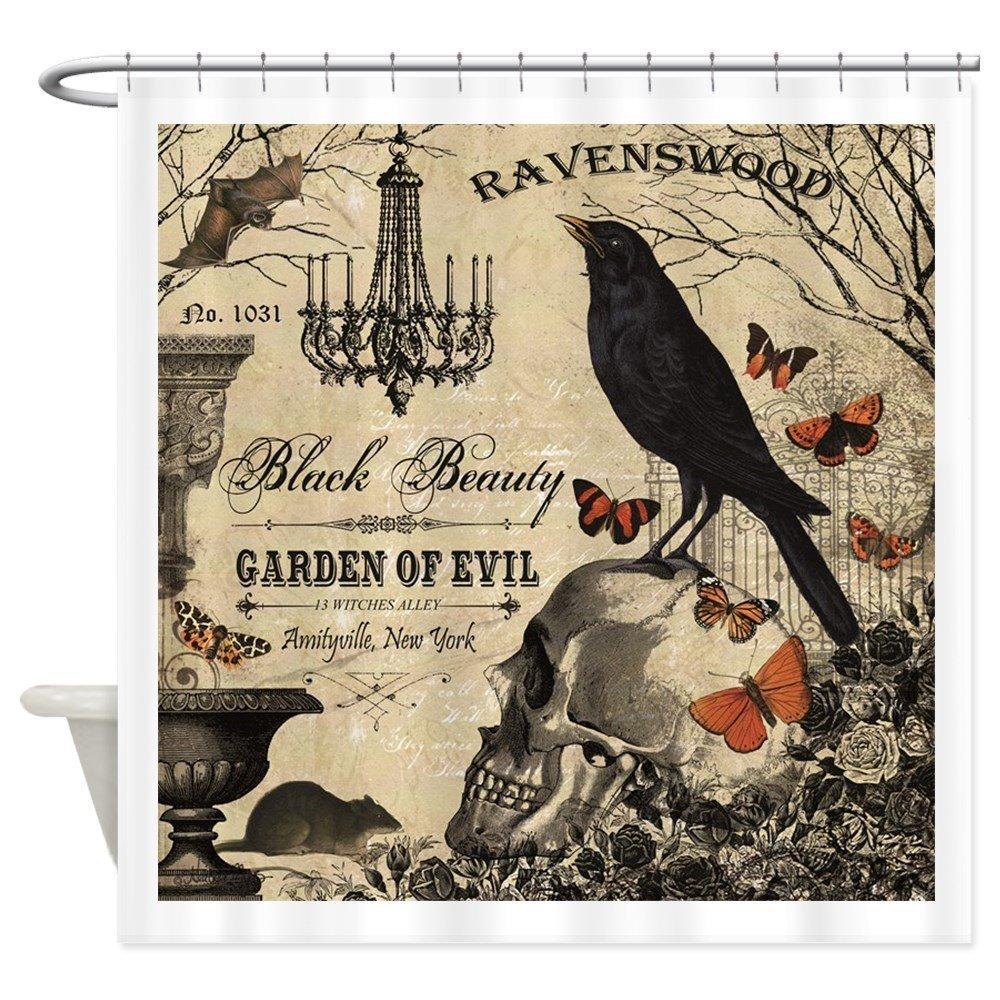 Modern Vintage Halloween Shower Curtain Mat Decorative