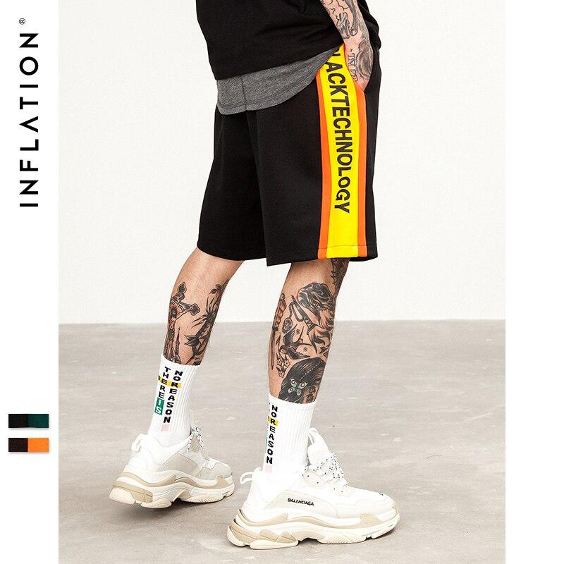 INFLATION Side Lettering Print Shorts New Fashion Men Shorts Trousers Men Shorts Summer Elastic Waist Men Short Sweatpants 8405S men elastic waist ringer shorts