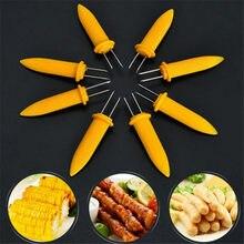 Venda quente suportes de milho 10 unidades/pacote duplo espetos de dente churrasco garfo frutas milho titular churrasco garfo garpu ferramenta amarelo qw896202