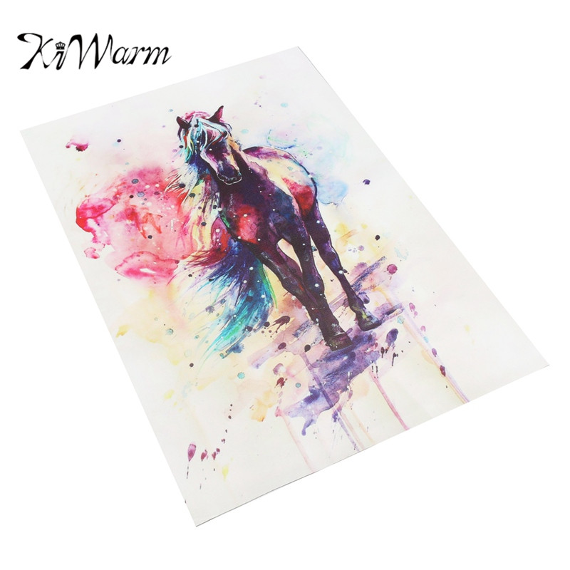 KiWarm Exquisite Unframed Painting Watercolour Horse Cotton Canvas Picture Quality Print Wall Home Coffee Shop Decor DIY Craft