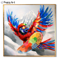 цена на Low Price Hand-painted High Quality Modern Sporty Bird Oil Painting for Room Decor Eagle is Skiing Landscape Animal Painting