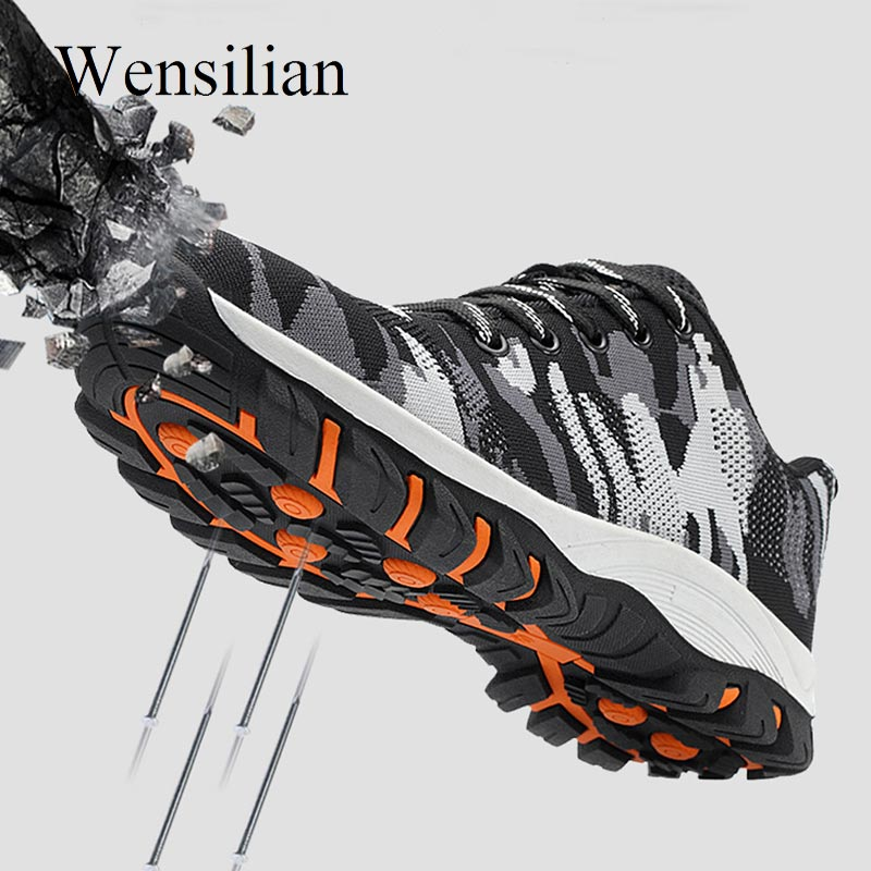 Steel Toe Cap Safety Work Shoes Boots Men Anti-perforation Steel Sole Camouflage Army Military Boots Sneakers Botas Hombre
