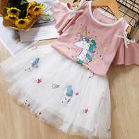 Menoea Girls Dresses Lovely Cartoon Kids Tutu Dress Summer Girls Clothes Spring Short Sleeve Solid Round Neck Children Clothing