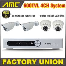 600TVL Outdoor + Dome Cameras Surveillance Security CCTV System 4CH Channel CCTV Kit 4 Camera 4 Channel DVR Recorder CCTV System