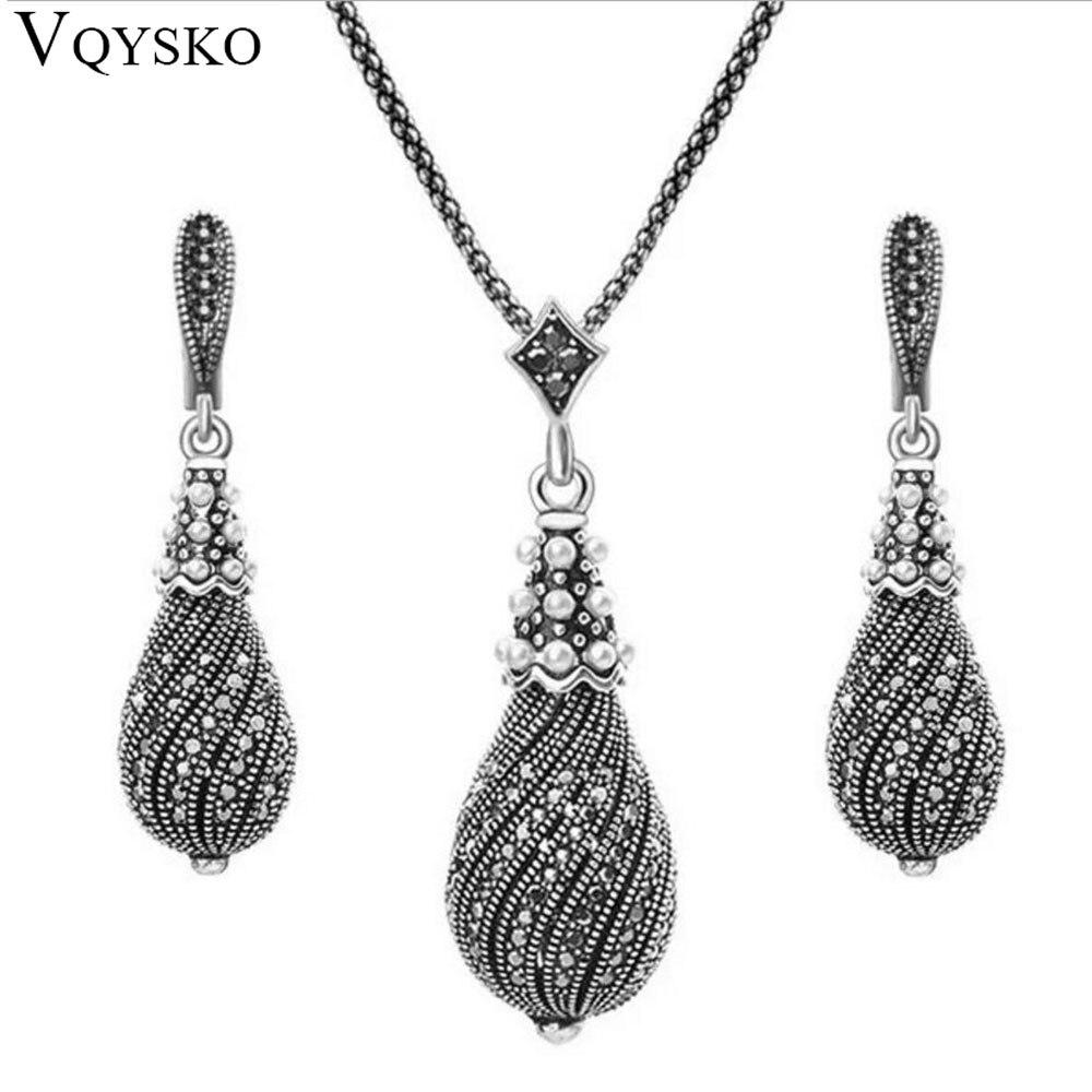 Jewelry-Sets Pendant Necklace/earrings Drop-Shape Black Vintage Peral Grey Retro Wedding