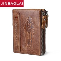 100% Genuine Leather Double Zipper Male Wallet Small MINI Men Wallet Portomonee Design With Coin Purse Pocket Brand Carteira men
