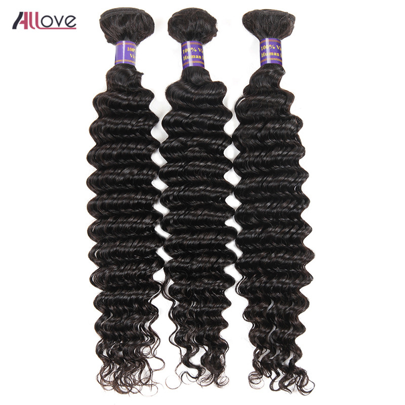 Allove Indian Hair Weave Bundles Deep Wave Human Hair Weave 3 Bundles Deal 8-28Inch Natural Black Remy Hair Weaving Can Be Dyed