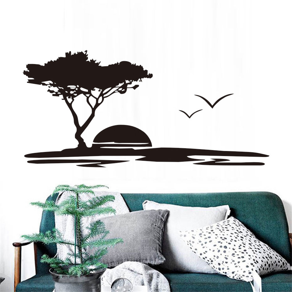 online buy wholesale nature wall sticker from china nature wall  - dctop hollow out removable vinyl big tree and seagulls nature wall stickerseaside sunset scenery decals