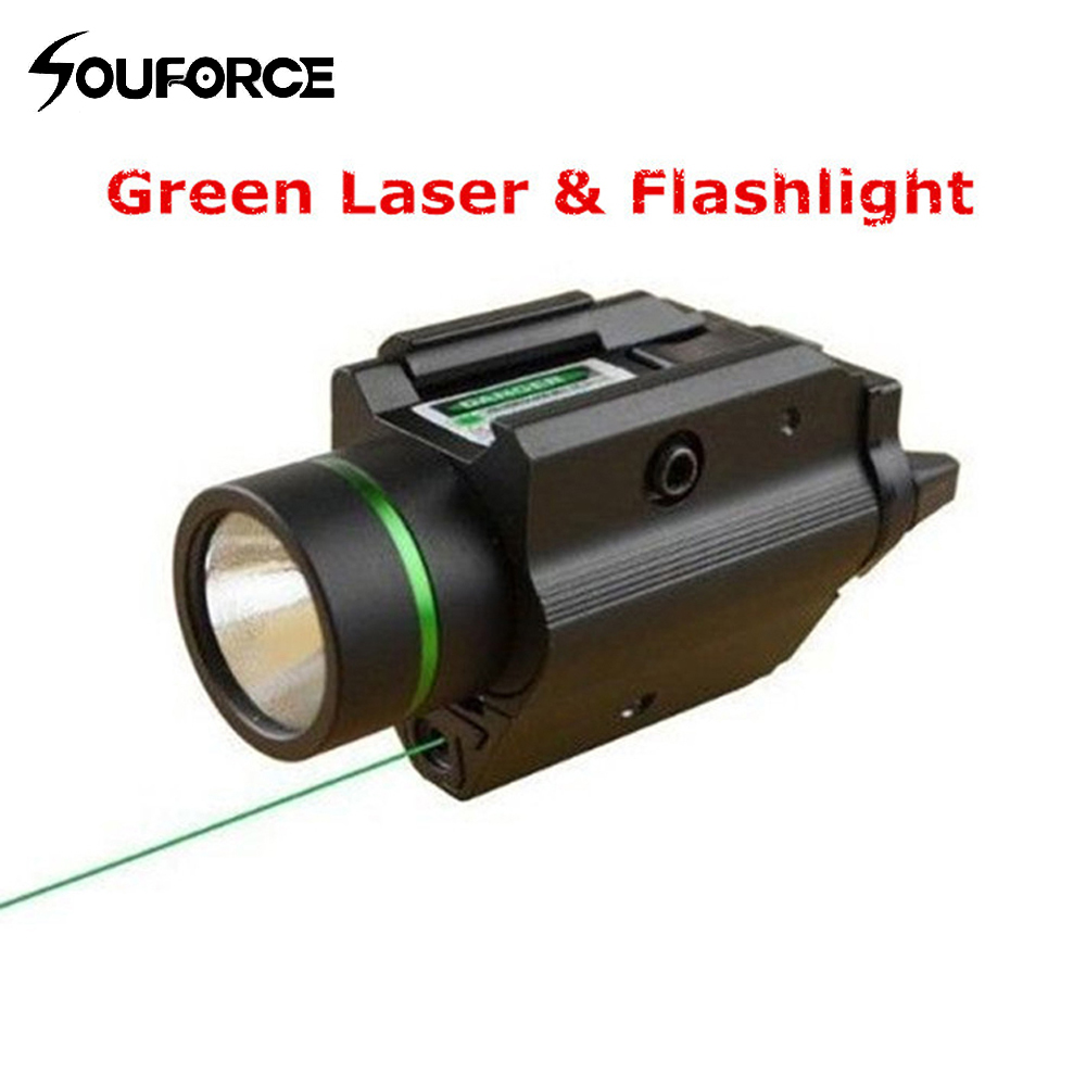 Hunting Combo Metal Green Dot Laser Sight LED Flashlight 200LM 3W with 20mm Rail Weaver Picatinny For Glock 17 tactical hunting compact green dot laser sight scope with led flashlight combo fit for 20mm rail