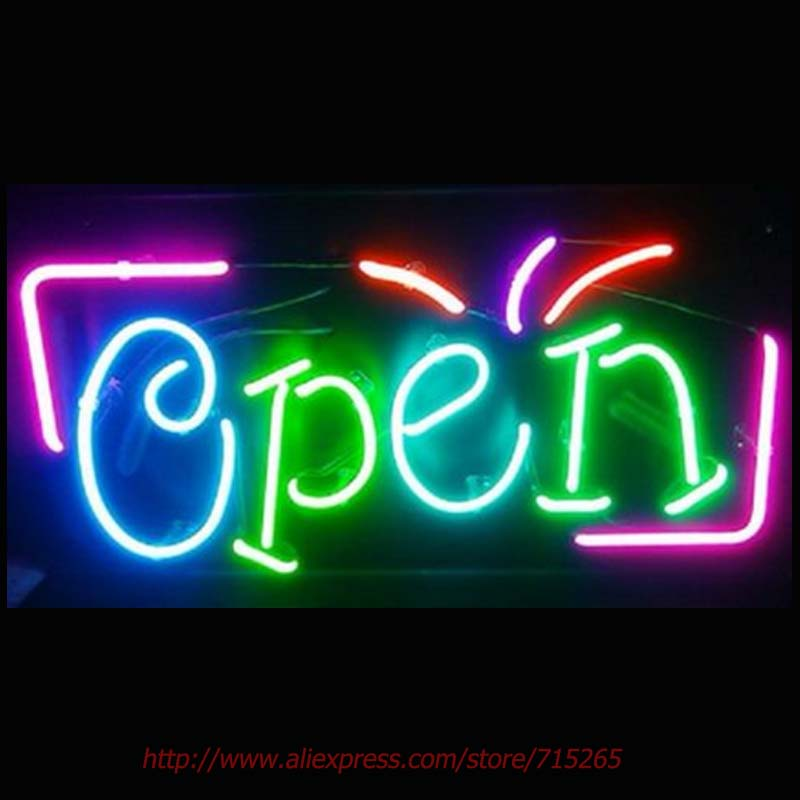 Super Bright OPEN Business Store Neon Bulbs Real Glass Tube Handcrafted Neon Sign Recreation Room Garage Custom Attract 17x14  wild at heart neon sign advertise custom logo neon bulb beer glass tube handcrafted neon glass tubes recreation room lamps 17x14