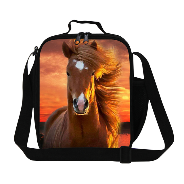 New Arrival 3D Animal Lunch Bags Horse Print Cooler Box With Zipper Insulated Lunch Box For Kids Gifts For Students Food Bag