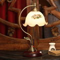High quality 110V- 240v Vintage Desk Lamp E27 40W European Glass Iron Living Room Study Switch Button Dimmable Led table lamp