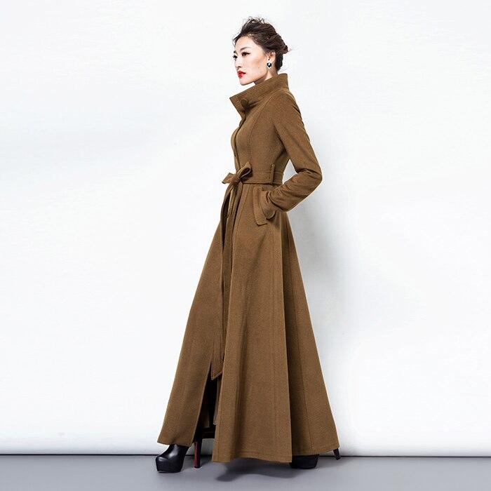 2019 Moda Qatı Rəngli Yun Palto Uzun yun Pencək Qadın Vintage - Qadın geyimi - Fotoqrafiya 6