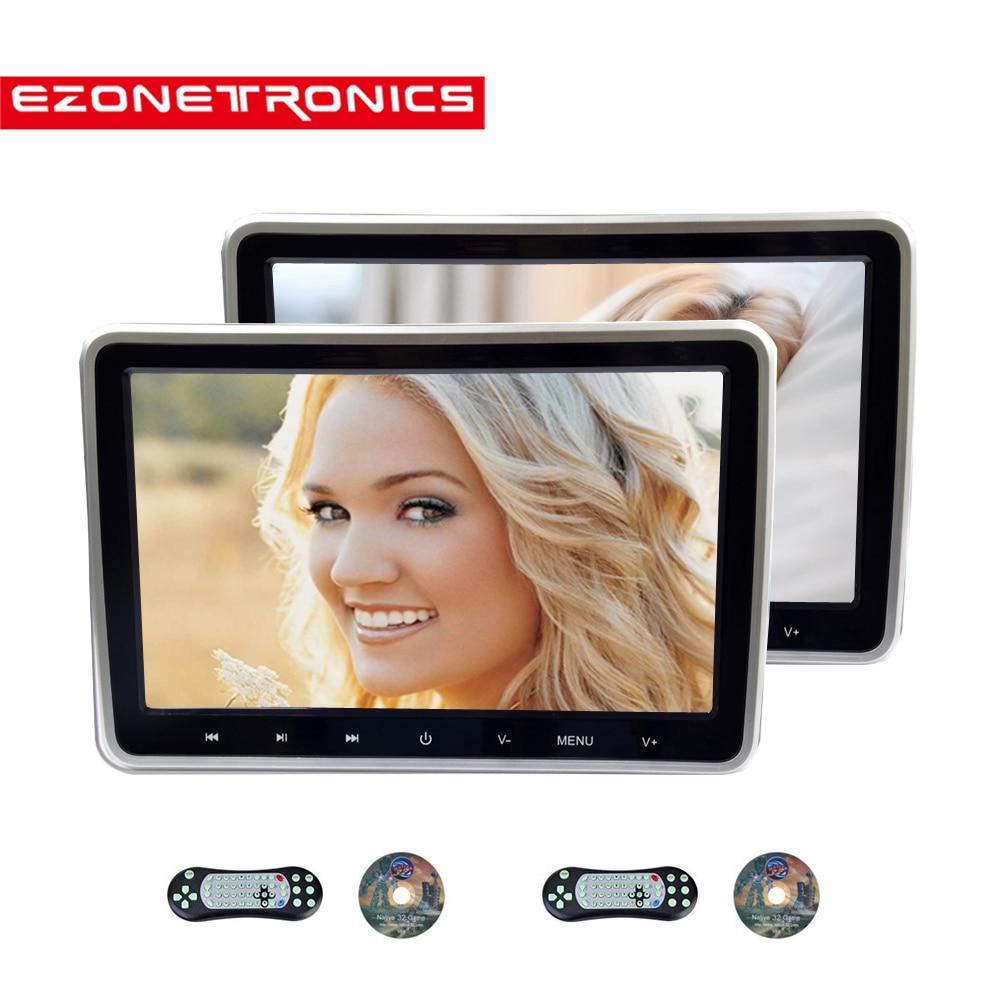 1 2PCS 10 1 Inch Car Headrest Monitor DVD Video Player USB SD HDMI IR FM