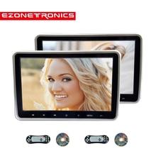 Monitor de encosto de cabeça de carro, 1/2 peças, 10.1 Polegada, dvd player de vídeo usb/sd/hdmi/ir/tela lcd tft fm, botão de toque, controle remoto para jogos, estéreo