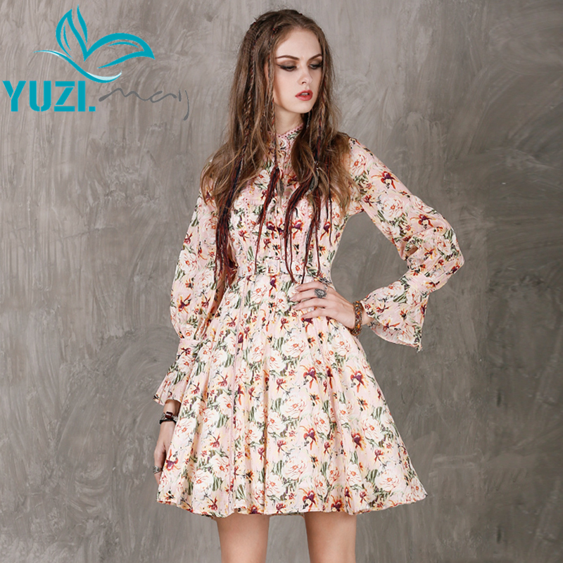 Women Dress 2017 Yuzi may Boho New Cotton Vestidos Stand Collar A line Butterfly Sleeve Belted