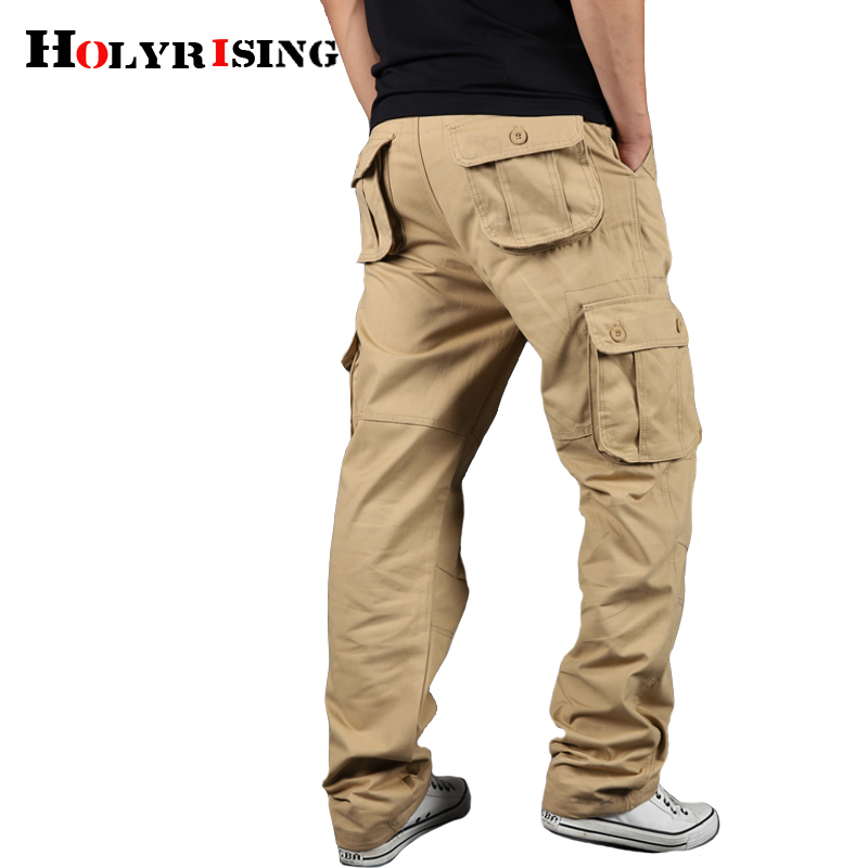Holyrising Men's Cargo Pants Casual Cotton Trousers Multi Pocket Military Style Tactical Pants Male Camo 90% cotton Pant 18671-in Cargo Pants from Men's Clothing