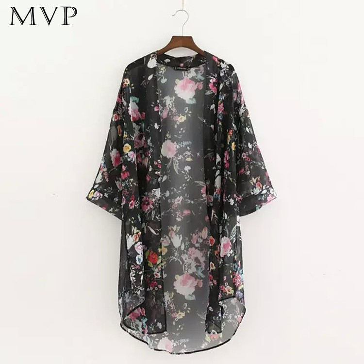 FANALA Women Blouse Summer Shawl Blouses Shirt 3/4 Sleeve Floral Asymmetric Hem Loose Chiffon Kimono Cardigan Tops Female Blusa