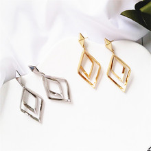 Temperament hollow out double geometric metal earrings ms women long jewelry wholesale fashion and personality