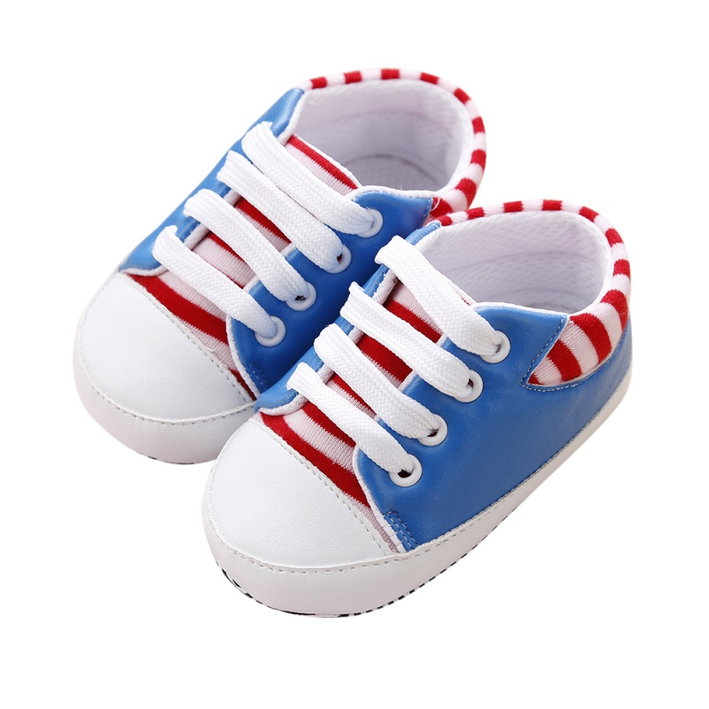 Infant Baby Striped PU Shoe Toddler Boy Girl Lacing Crib Shoes 0-12 Months New