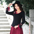 Autumn New Black Flare Long Sleeve T-shirt Female Casual Large Size V Neck Women Tee Shirt National Style Cotton Tops