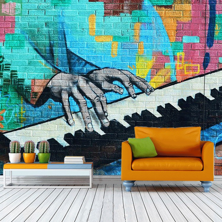 Large Playing Piano 8D Papel Mural 3d Bricks Wallpaper Mural for Rock Bar Coffee KTV Background 3d Photo Mural Wall paper 3d papel parede forests trees bridge reflection scenery 3d wall paper mural 3d photo wallpaper 3d wall mural for sofa background