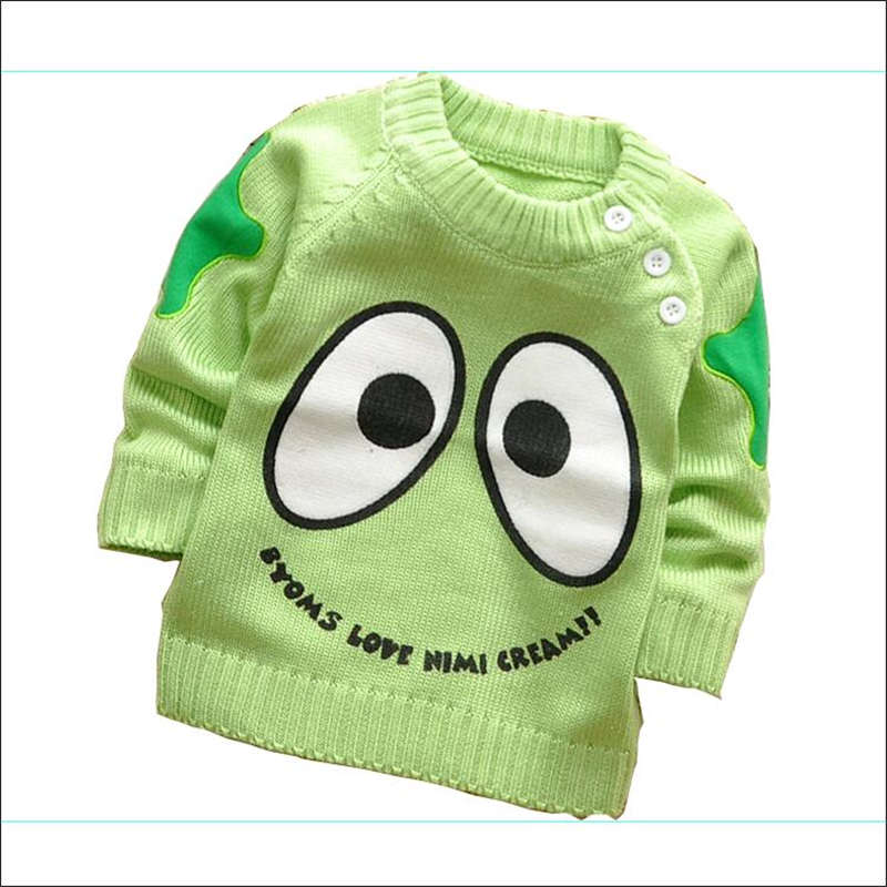 Spring /Autumn Korean baby boys and girls cartoon Cute eye shoulder buckle pullover sweaters,V215B