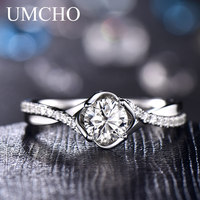 UMCHO Natural Diamond Moissanite Engagement Rings for Women Solid 18 k White Gold Wedding Anniversary Bridal Party Gift for Her