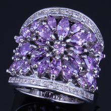 Magnificent Huge Purple Cubic Zirconia White CZ 925 Sterling Silver Ring For Women V0160