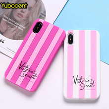 Yubocent Victoria Pink Soft Phone Case For iPhon XS X 7 8 Plus 6 6S Plus 5 5S E Luxury Secret Stripe Rainbow Silicone Back Cover(China)