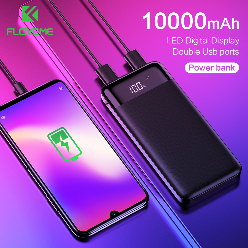 FLOVEME Mini Power Bank 10000Mah Fast Charge External Battery Backup Pack Powerbank 10000 Mah Dual usb charger For Mobile Phone|Power Bank| |  - title=