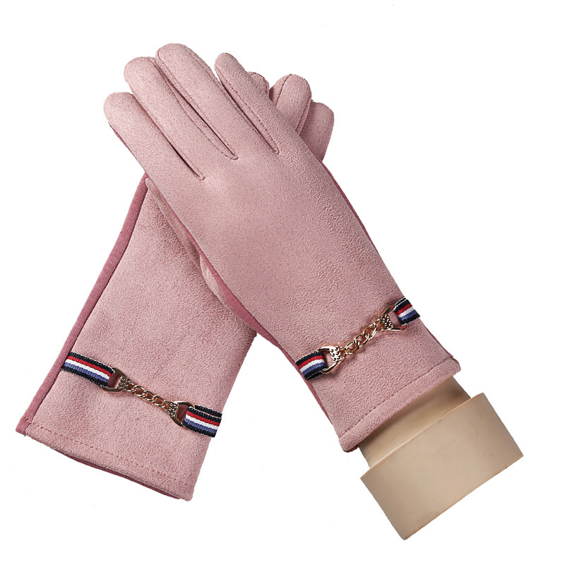 Winter Gloves Women's Suede Metal Chains Outdoor Sports Warm Gloves New Products