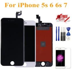 Czarny biały montaż wyświetlacz LCD Digitizer dla iPhone 7 jakość aaa ekran dotykowy LCD dla iPhone 6 6S 5S nie martwy piksel z prezentami