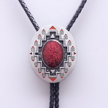 Western American Southwest Pattern Oval Wedding Bolo Tie Leather Necklace