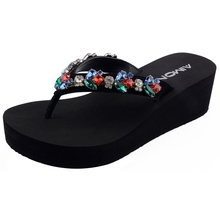AIMONE Women Flip Flops Green & Red Rhinestone Sandals Beach Slippers Shoes Summer Lady Wedges