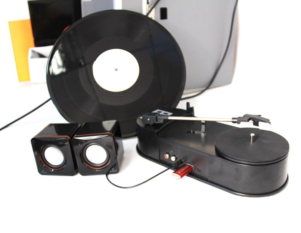 Audio Grabber vinyl phonograph player black film conversion recorder player convert to mp3 to TF Card U Flash Disk, NO PC Needed