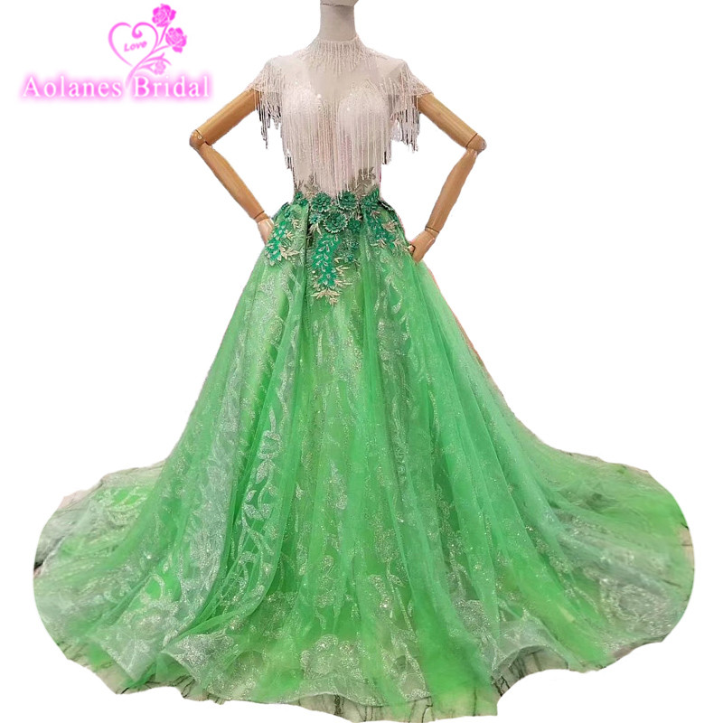 2018 Green Tulle Tassel Bead Sweetheart Court Train Party Prom Dress Ball Gown Sleeveless Floor-length Illusion Evening Dressses